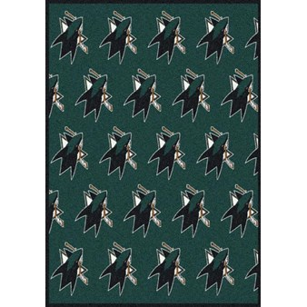 "Milliken NHL Team Repeat (NHL-R) San Jose Sharks 02052 Repeat Rectangle (4000020477) 2'1"" x 7'8"" Area Rug"