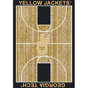 "Milliken College Home Court (NCAA) Georgia Tech 01090 Court Rectangle (4000018462) 7'8"" x 10'9"" Area Rug"