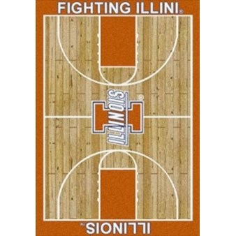 "Milliken College Home Court (NCAA) Illinois 01113 Court Rectangle (4000018467) 7'8"" x 10'9"" Area Rug"