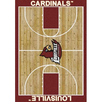"Milliken College Home Court (NCAA) Louisville 01150 Court Rectangle (4000018302) 3'10"" x 5'4"" Area Rug"