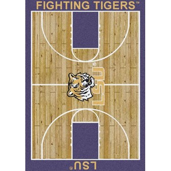 "Milliken College Home Court (NCAA) LSU 01152 Court Rectangle (4000018303) 3'10"" x 5'4"" Area Rug"
