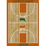 "Milliken College Home Court (NCAA) Miami 01157 Court Rectangle (4000018306) 3'10"" x 5'4"" Area Rug"