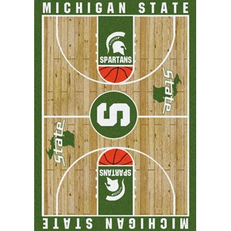 "Milliken College Home Court (NCAA) Michigan State 01180 Court Rectangle (4000018480) 7'8"" x 10'9"" Area Rug"
