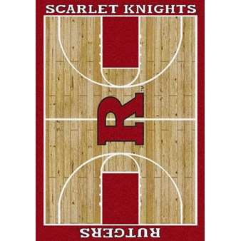 "Milliken College Home Court (NCAA) Rutgers 01347 Court Rectangle (4000018498) 7'8"" x 10'9"" Area Rug"