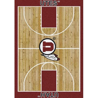 "Milliken College Home Court (NCAA) Utah 01452 Court Rectangle (4000018516) 7'8"" x 10'9"" Area Rug"