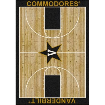 "Milliken College Home Court (NCAA) Vanderbilt 01453 Court Rectangle (4000018517) 7'8"" x 10'9"" Area Rug"