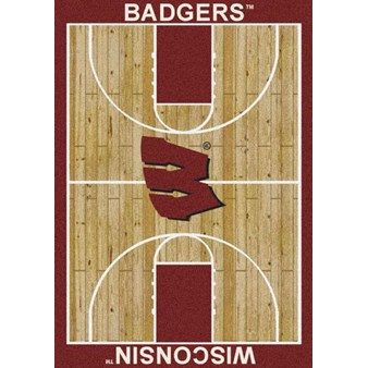 "Milliken College Home Court (NCAA) Wisconsin 01490 Court Rectangle (4000018525) 7'8"" x 10'9"" Area Rug"