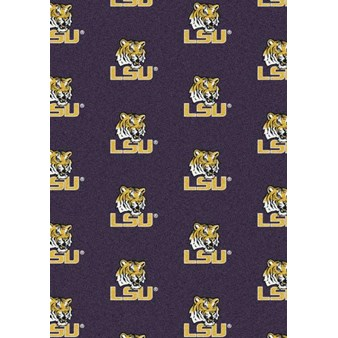 "Milliken College Repeating (NCAA) LSU 01152 Repeat Rectangle (4000018847) 5'4"" x 7'8"" Area Rug"