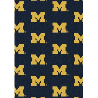 "Milliken College Repeating (NCAA) Michigan 01160 Repeat Rectangle (4000018923) 7'8"" x 10'9"" Area Rug"