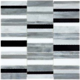 Anatolia Bliss Baroque Glass Mosaic Random Stacked : Arabescato 35-080