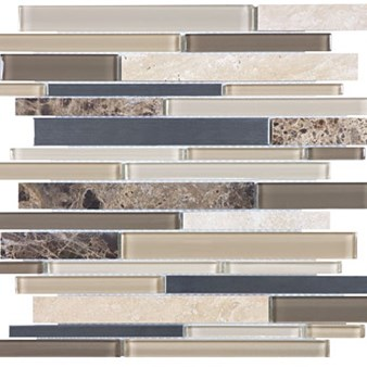 Anatolia Bliss Glass Stone Stainless Mosaic Random Linear Strip : Woodland 35-043