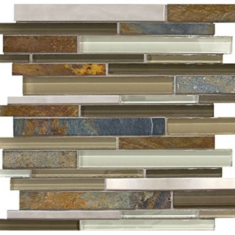 Anatolia Bliss Glass Stone Stainless Mosaic Random Linear Strip : Nature Trail 35-047