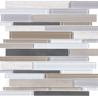 Anatolia Bliss Glass Stone Stainless Mosaic Random Linear Strip : Twilight Mist 35-050