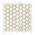 "Marazzi Timeless: Calacatta Pearl 13"" x 13"" Porcelain Tile Hexagon Mosaic UK2V"