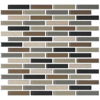 "Daltile Mosaic Traditions: Skyline 5/8"" x 3"" Glass Brick-joint Mosaic Tile BP99-583BJMS1P"