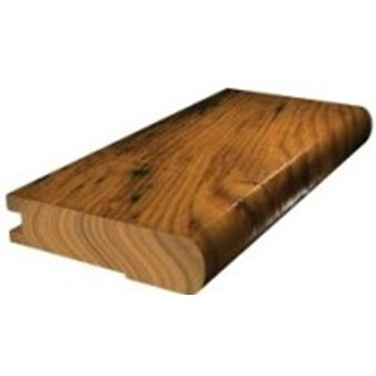 "Shaw Pebble Hill: Flush Stair Nose Burnt Barnboard Hickory - 78"" Long"