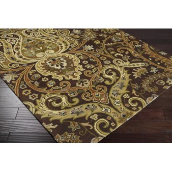 "Surya Ancient Treasures Coal Black (A-141) Square 1'6"" x 1'6"""
