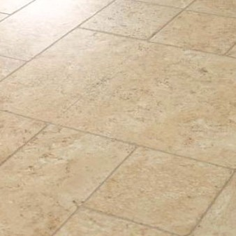 Faus Floor Masterpieces Collection: Cottage Travertine Ecru 10mm Laminate With Attached Pad F-712813