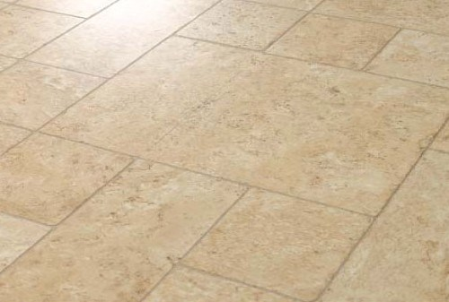 Faus Floor Masterpieces Collection: Cottage Travertine Ecru 10mm Laminate  With Attached Pad F 712813