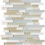 "Anatolia Bliss Glass Stone Blend Linear Mosaic 5/8"" x Random : Spa 35-009"