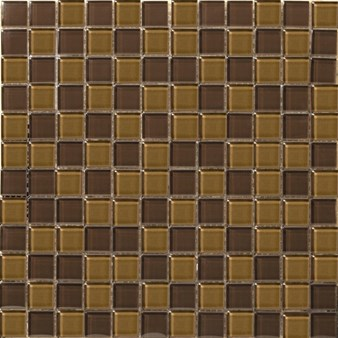 "Emser Lucente Glass Blends Mosaic 12.5"" x 12.5"" : Amber / Mulberry"