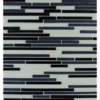 "MS International Black and White Bamboo Glass Mosaic 12"" x 12"" : SMOT-GLSBB-BW8MM"