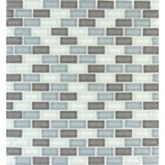 "MS International Majestic Ocean Mini Brick Glass Mosaic 12"" x 12"" : SMOT-GLSMBRK-MO8MM"