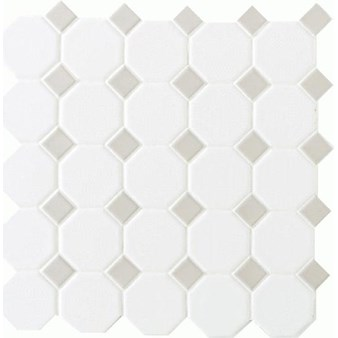 "Daltile Octagon Dot: Matte White with Gray Gloss Dot 12"" x 12"" Ceramic Tile 65012OCT44MSC1P"
