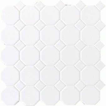 "Daltile Octagon Dot: Matte White with White Matte Dot 12"" x 12"" Ceramic Tile 65012OCT01MS1P2"