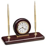 Howard Miller 613-588 Rosewood Desk Set Table Top Clock